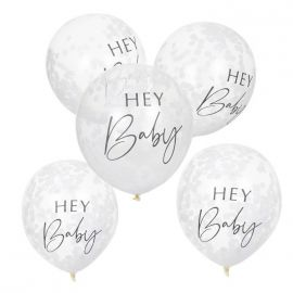 Ballons confettis baby shower Hey Baby x5