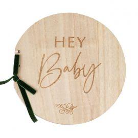"""Livre d'or en bois pour bébé """"hey baby"""""""