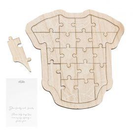 Livre d'or en bois en forme de puzzle