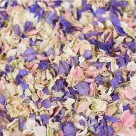 Confettis biodégradables de fleurs séchées bleu