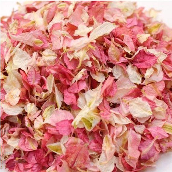Confettis de fleurs séchées biodégradables roses
