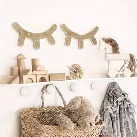Cils pailleté en bois decoration murale chambre bébé