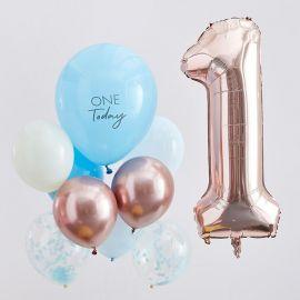 Ballons anniversaire 1 an Rose Gold, Bleu et Chiffre 1