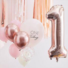 10 Ballons anniversaire 1an Rose Gold et Chiffre 1