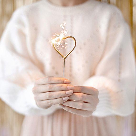 Bougies cierges magiques cœur doré x2