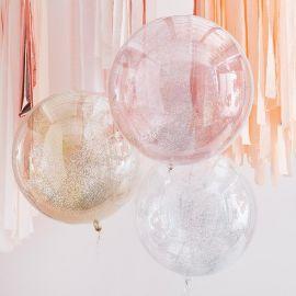 Ballons paillettes rose, or et argent