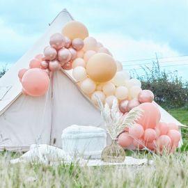 Arche de ballons rose gold, pêche et nude