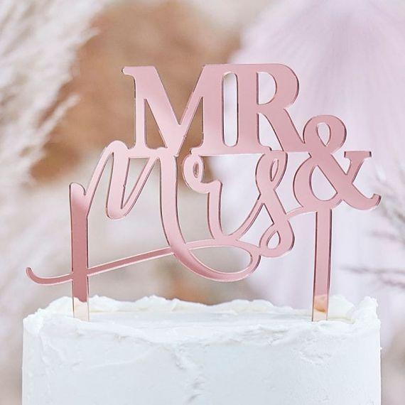 """Cake topper mariage en plexiglas rose gold """"Mr and Mrs"""""""
