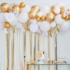 kit pour guiralnde de ballons doré et blanc, boules et evantails papier