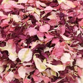 Confettis de fleurs séchées biodégradables rose et bordeaux