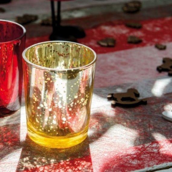Photophore en verre mercurisé or