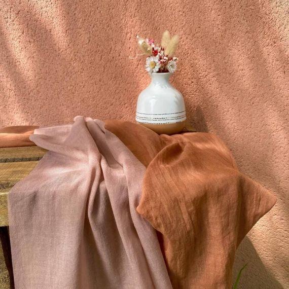 Chemin de table mousseline Vieux Rose