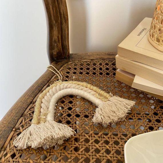 Arc-en-ciel tissé - blanc ivoire or