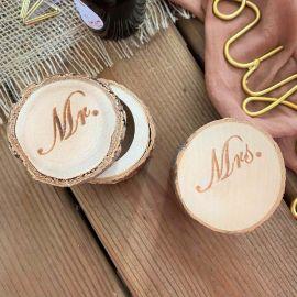 boîtes à alliances rondin de bois MR & MRS