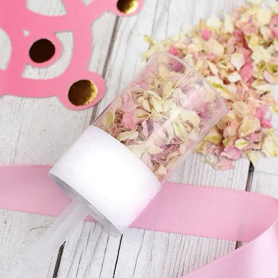 Confettis mariage fleurs push pop - rose clair
