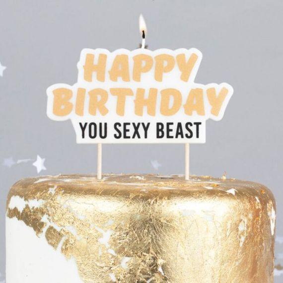 "Bougie d'anniversaire ""Happy Birthday You Sexy Beast"""