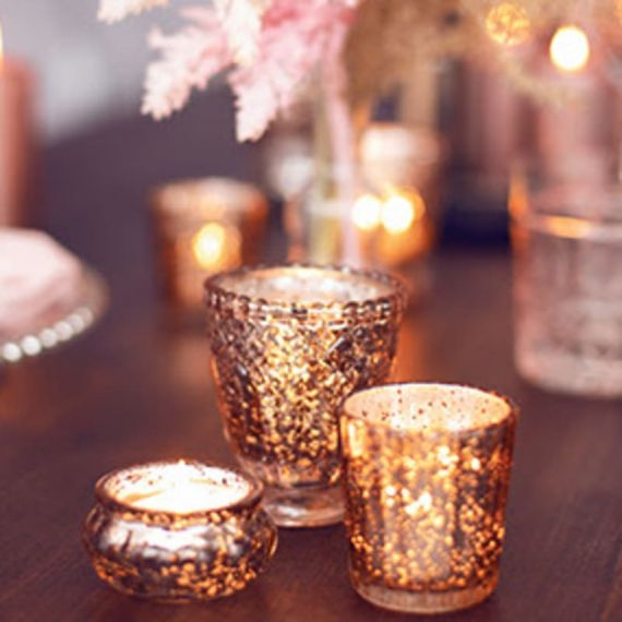 Petits photophores rose gold x4