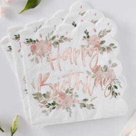 Serviettes florales joyeux anniversaire rose gold