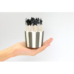 12 décorations de gâteaux étoile paillettes - noir