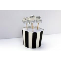 4 décorations de gâteaux oiseaux - argent