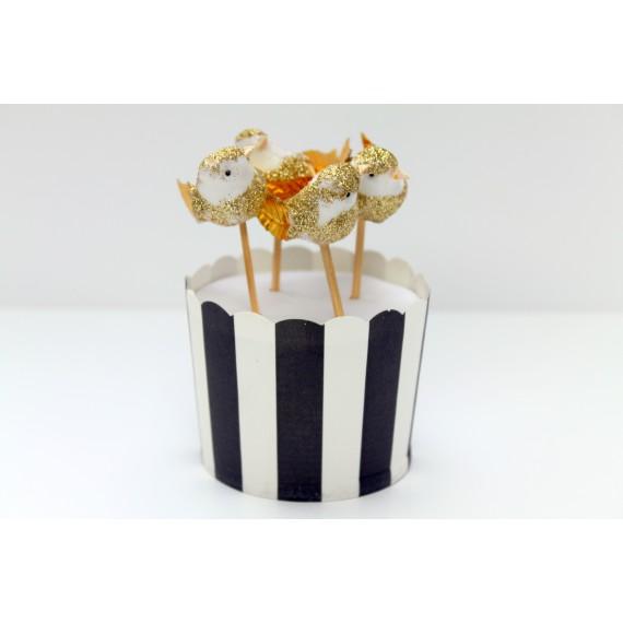 4 décorations de gâteau oiseaux - doré