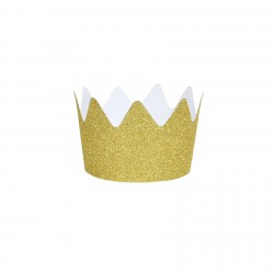 Set de 8 couronnes glitter dorées