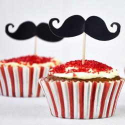 Décorations de gâteaux et cupcakes - moustache