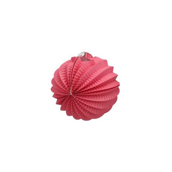 lampion rond accordéon - rose candy