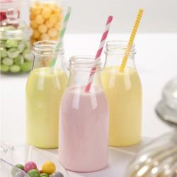 Petites bouteilles de lait retro en plastique (par 4)