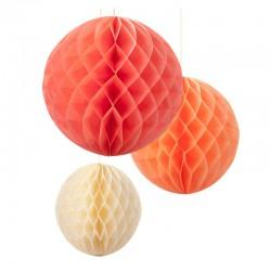 Ensemble de 3 boules alvéolées - summer blush