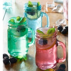 Mugs en verre style Mason Jar - bleu vert rose (par 3)