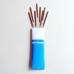 Cierges magiques bâton - pochette Happy Birthday (par 8)