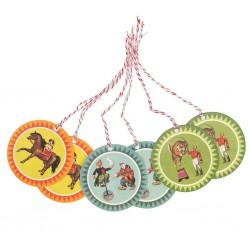 Etiquettes rétro motifs cirque (par 6)