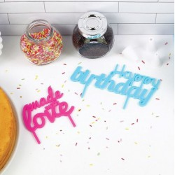 Cake toppers bannières pour gâteau anniversaire (set de 2)
