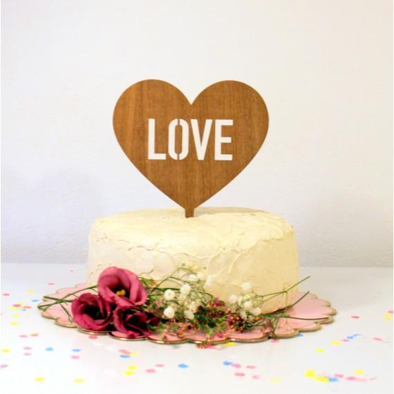 Figurine de gâteau mariage cake topper coeur LOVE en bois