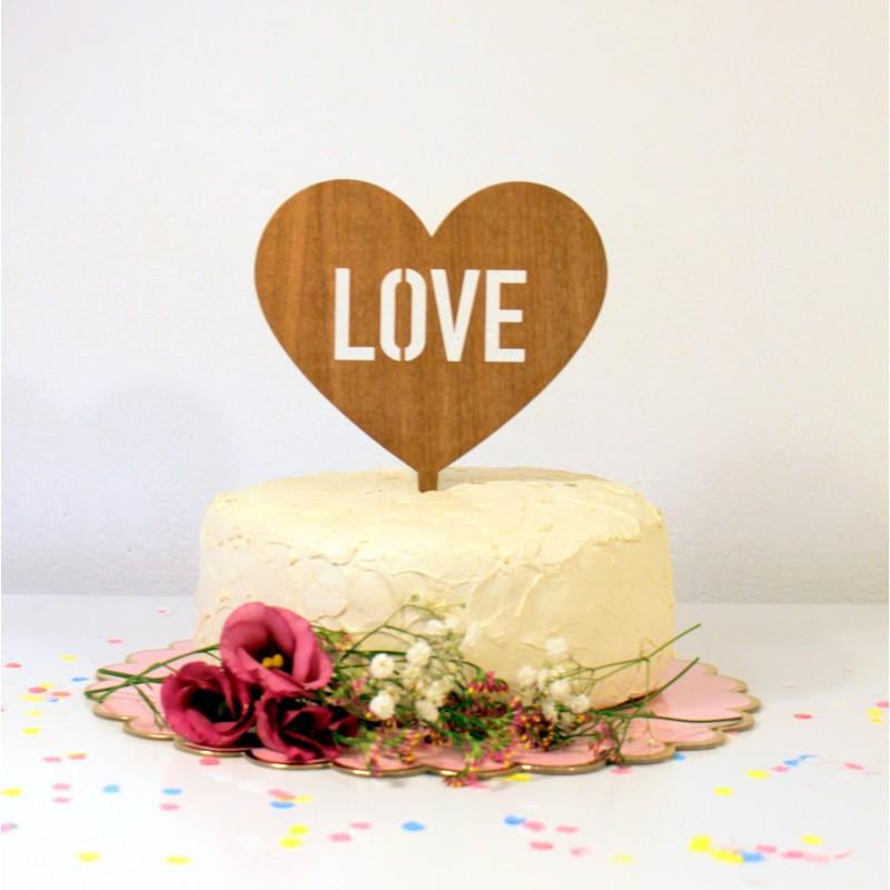 Figurine De G 226 Teau Mariage Cake Topper Coeur Love En Bois