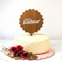 Figurine de gâteau cake topper 100% Bonheur en bois