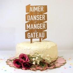 Figurine de gâteau mariage cake topper à message en bois