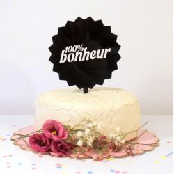 Figurine de gâteau cake topper 100% Bonheur plexi noir