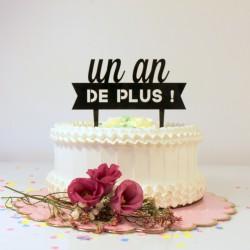 Cake topper anniversaire bannière noire