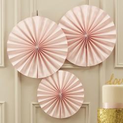 Rosaces en papier - rose pastel (par 3)