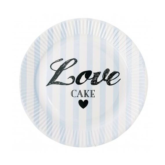 Assiette en carton bleu love cakes (par 8)
