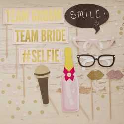 Kit photobooth mariage (10 accessoires)