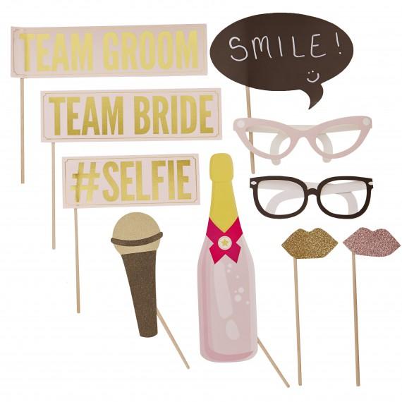 Kit photobooth mariage (10 accessoires)