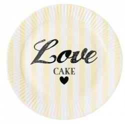 Assiette en carton jaunes love cakes (par 8)