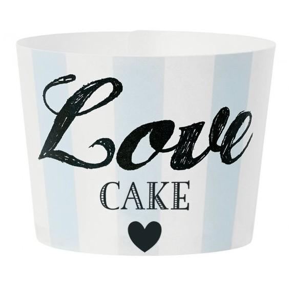 Caissette à cupcakes Love cakes - bleu (par 24)