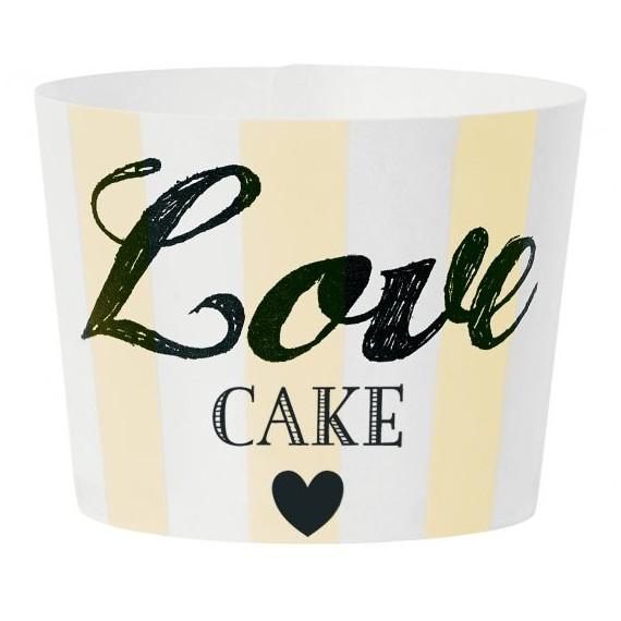 Caissette à cupcakes Love cakes - jaune (par 24)