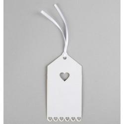 Étiquettes cœur - blanc (par 12)