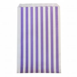 Pochettes papier - rayé mauve (par 10)