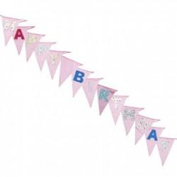 Grande guirlande à fanions Happy Birthday Rose